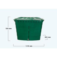 Esővízgyűjtő tartály, szögletes, 520 l, zöld