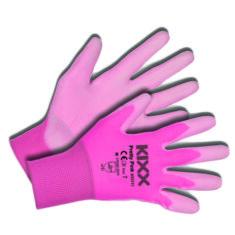 Kerti kesztyű, rózsaszín, 7-es nylon/polyuretan