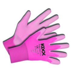 Kerti kesztyű, rózsaszín, 8-as nylon/polyuretan