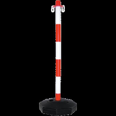 Lánctartó oszlop, műanyag, vízzel/homokkal tölthető, piros-fehér 86 cm