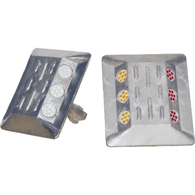 Prizma, aluminium, csapos 115 x 100 x 20 mm sárga/piros