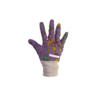 Kerti kesztyű, lila, mintás gyermek 6-os pamut/pvc