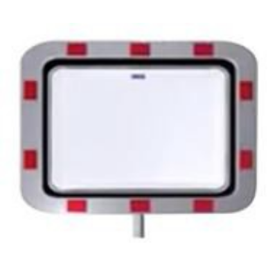 Tükör kültéri 450x600 mm, acél fehér-piros műanyag kerettel