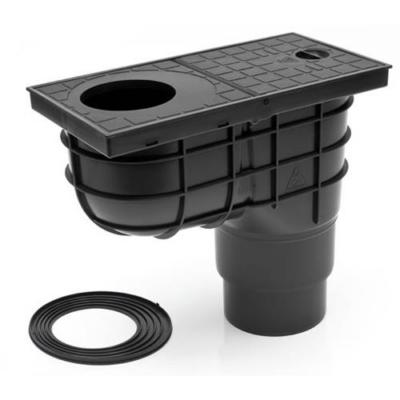 Kültéri víznyelő, eresz bekötéssel, szűrőkosárral, ráccsal, 110/125 mm