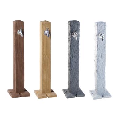 Szögletes vízkútállvány, kő/fa hatású