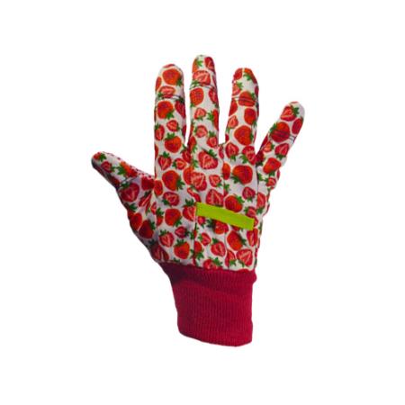 Kerti kesztyű, fehér-piros mintás, 8-as pamut/pvc
