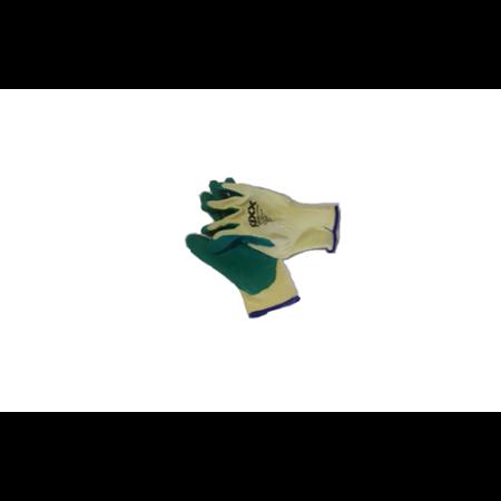 Kerti kesztyű, zöld-bézs  M-es, pamut/latex