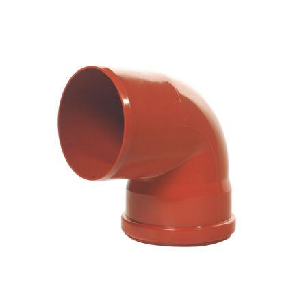 KG PVC könyök, tokos tömítőgyűrűs 250/90°