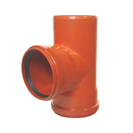 KG PVC tokos T idom, 2 tömítőgyűrűvel 200/200/90°