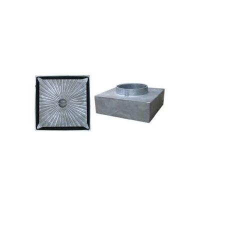Csatornatönk aluminium, 135x135 50 mm-es csonkkal