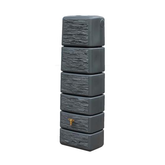 Slim fali esővízgyűjtő tartály, kőhatású, 300 l, grafitszürke