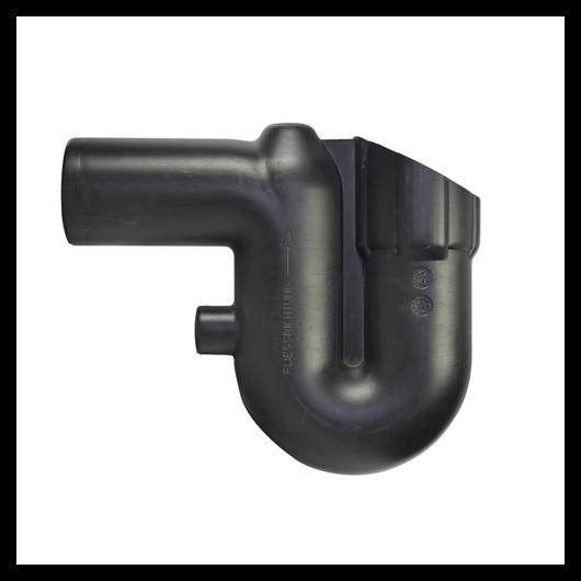 Túlfolyó szifon, DN100, fekete, kisállatvédelemmel