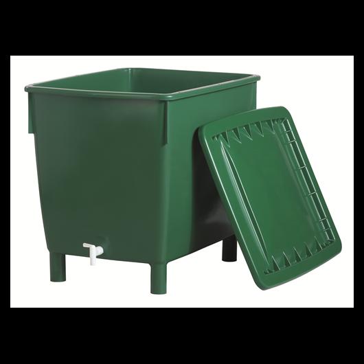 Esővízgyűjtő tartály, szögletes - nehéz változat, 400 l, zöld