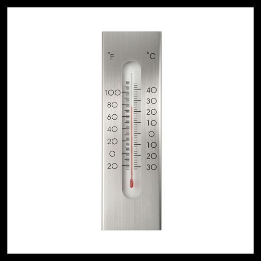 Falra szerelhető hőmérő, aluminium 23x7 cm