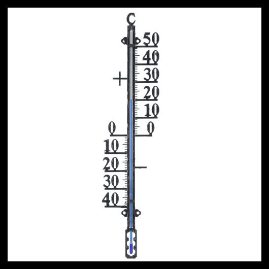 Falra szerelhető hőmérő profilozott 41x10 cm, epoxival bevont fekete*