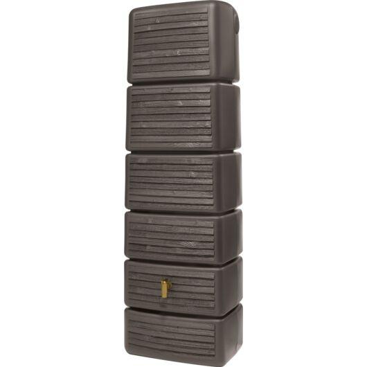 Slim fali esővízgyűjtő tartály, fahatású, 300 l, sötétbarna