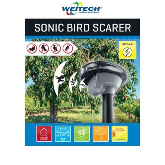 Napelemes infravörös LED fénnyel és hanggal, madárelriasztó készülék
