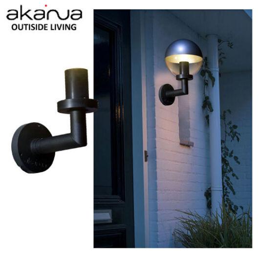 Kerti világítás fali gömb lámpa, fekete Versailles W 27x15cm