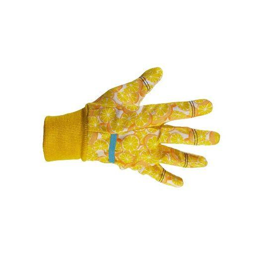 Kerti kesztyű, sárga-piros mintás, 8-as pamut/pvc